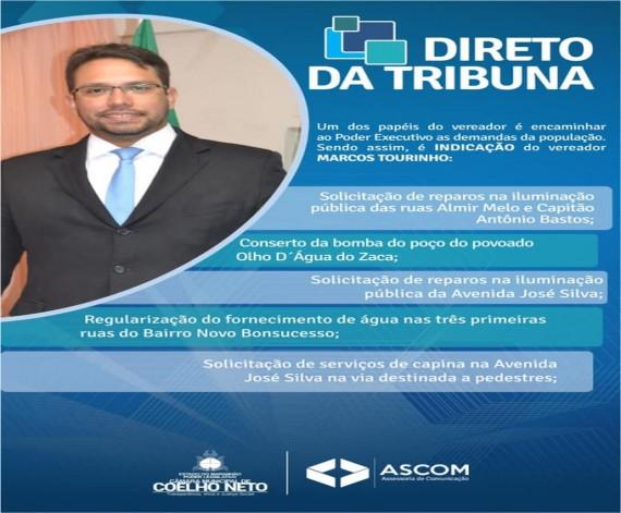 Direto da Tribuna: Indicações do Vereador Marcos Tourinho