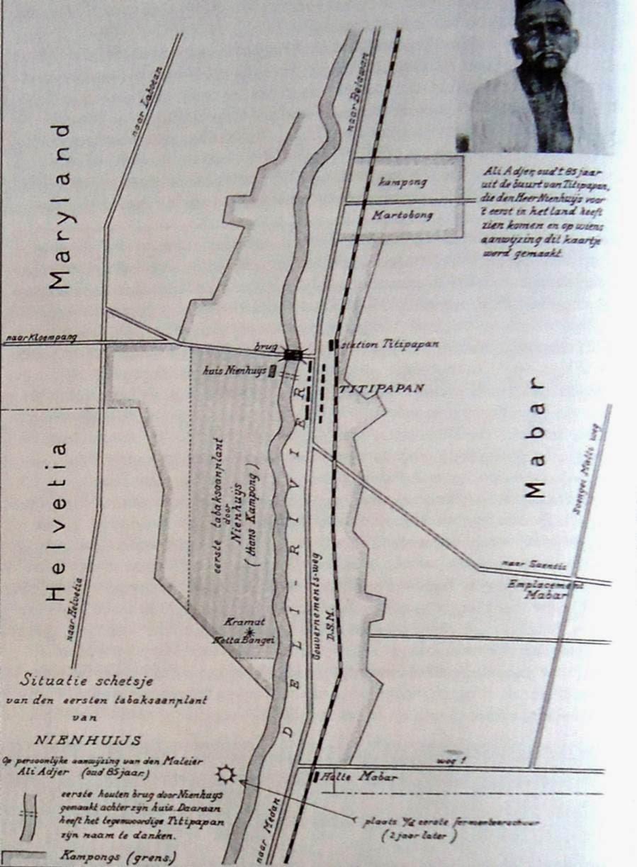 Peta Wilayah Perkebunan Tembakau Deli Matschappij 1863