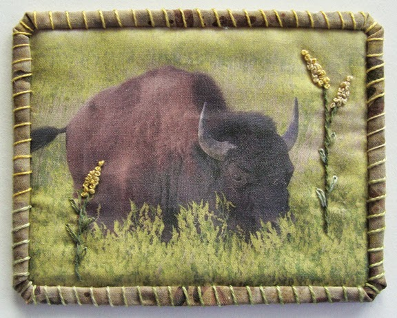Robin Atkins, Travel Diary quilt, bison, Yellowstone National Park
