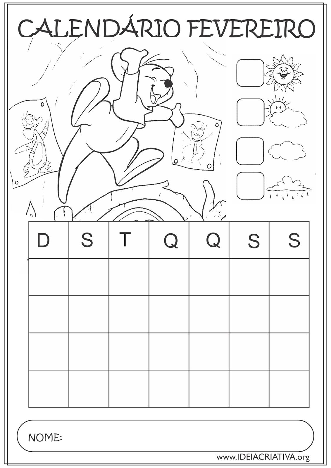 Calendário Fevereiro 2015  Guru Turma do Pooh Educação Infantil para Colorir