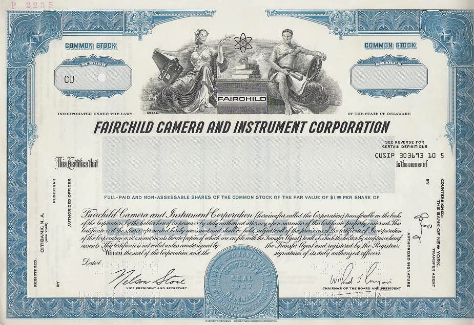 Fairchild Camera and Instrument Corporation stock certificate