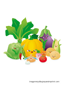 vegetales infantiles para imprimir