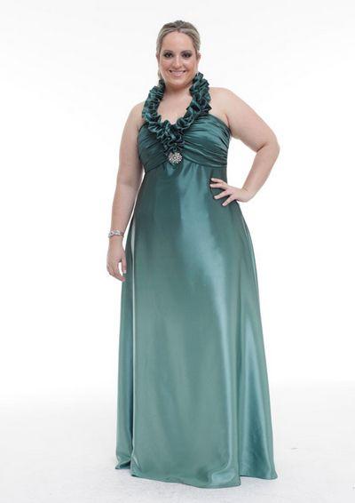 Vestido de festa com renda longo para gordas