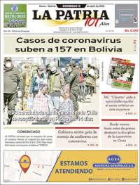 05/04/2020   BOLIVIA   UNA  PRIMERA PÁGINA DE LA PRENSA