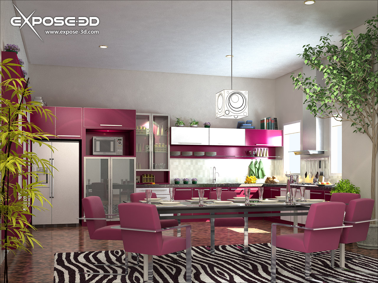 Wallpapers background interior decoration of kitchen for Kitchen decoration pink