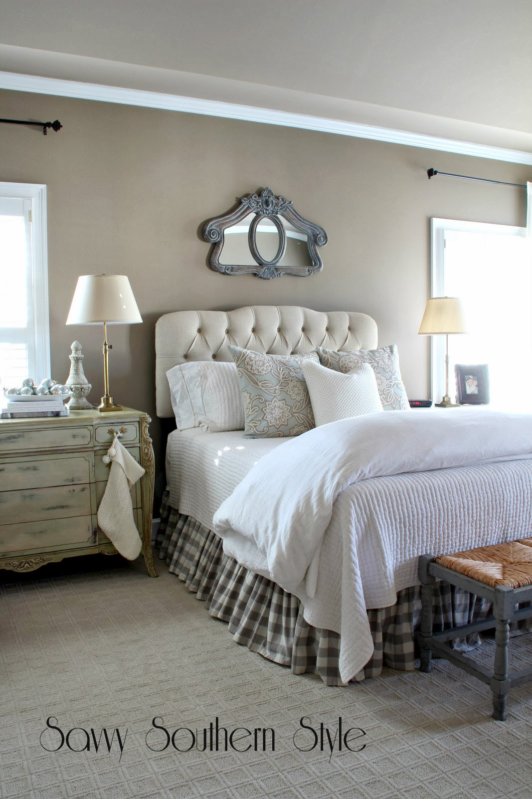 Savvy southern style winter white bedroom for Winter bedroom