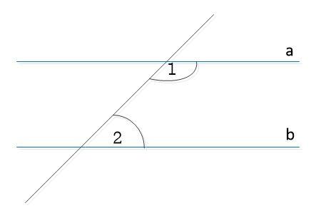 זויות חד צדדיות פנימיות, סכומן 180 מעלות