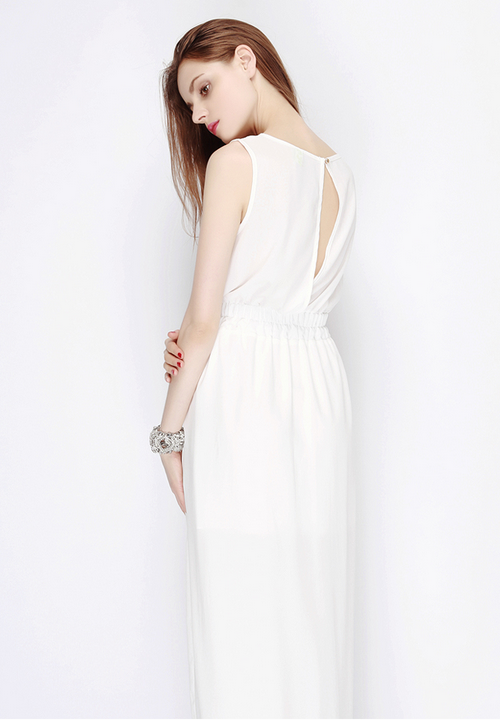 Slit Back Chiffon Mullet Maxi Dress