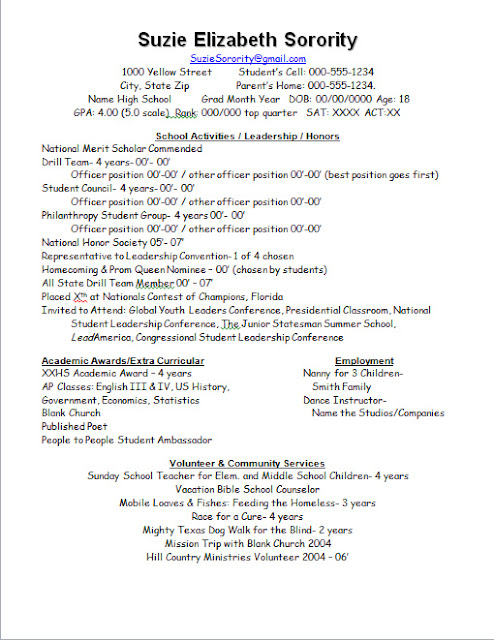 Sample Sorority Resume
