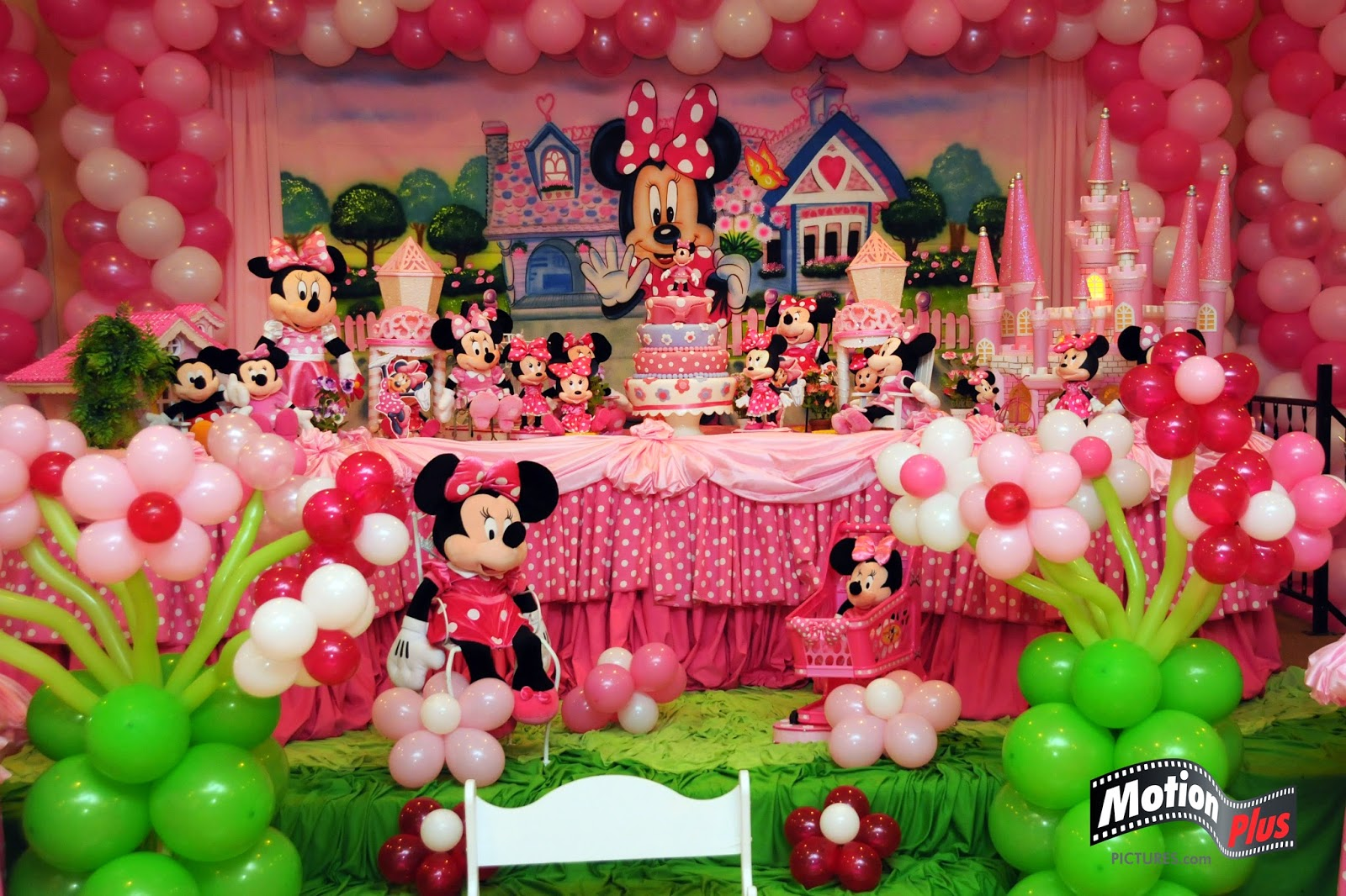 Motion plus pictures minnie themed birthday party ideas for B day party decoration