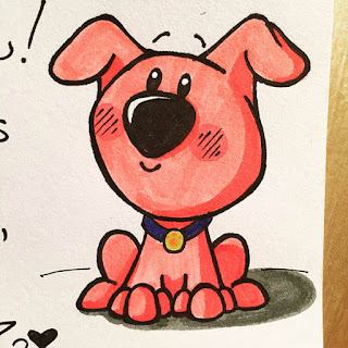 Ink and marker drawing of a cute and smiling pink puppy dog for a lunchbox note