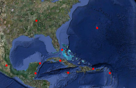 Radarlandkarte, Doppler-Radar, Radarbild, Karibik, Sturm, Hurrikan, Mexiko, USA, Jamaica, Bermuda, Kuba, Kleine Antillen, Cancún, Punta Cana, Puerto Rico, Florida, Bahamas, Belize, Playa del Carmen, Yucatán, Hurrikansaison, Atlantik, Hurricane Alley, Radarstationen, live, Livebild,