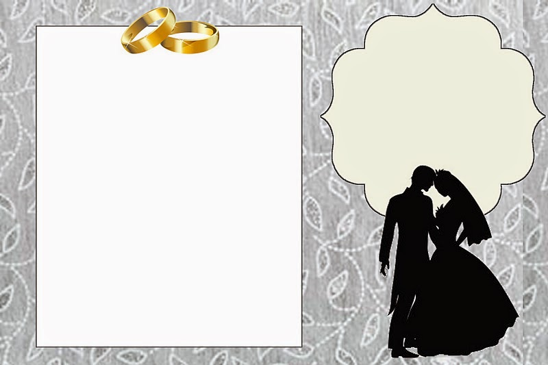 Wedding Couple Silhouette In Silver Free Printable
