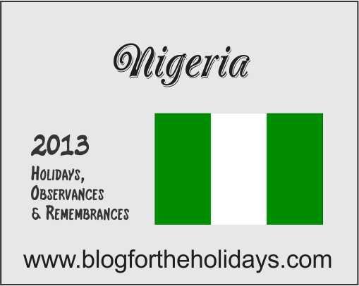 Nigeria, Calendar, Holidays, 2013, Doug Gazlay, Id-El-Fitri, Id-El ...