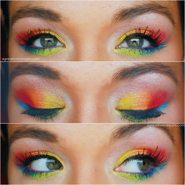 agape love designs neon rainbow eye makeup requested