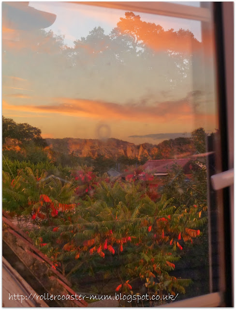 sunset reflection in a window