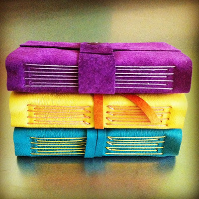 suede journals purple yellow teal