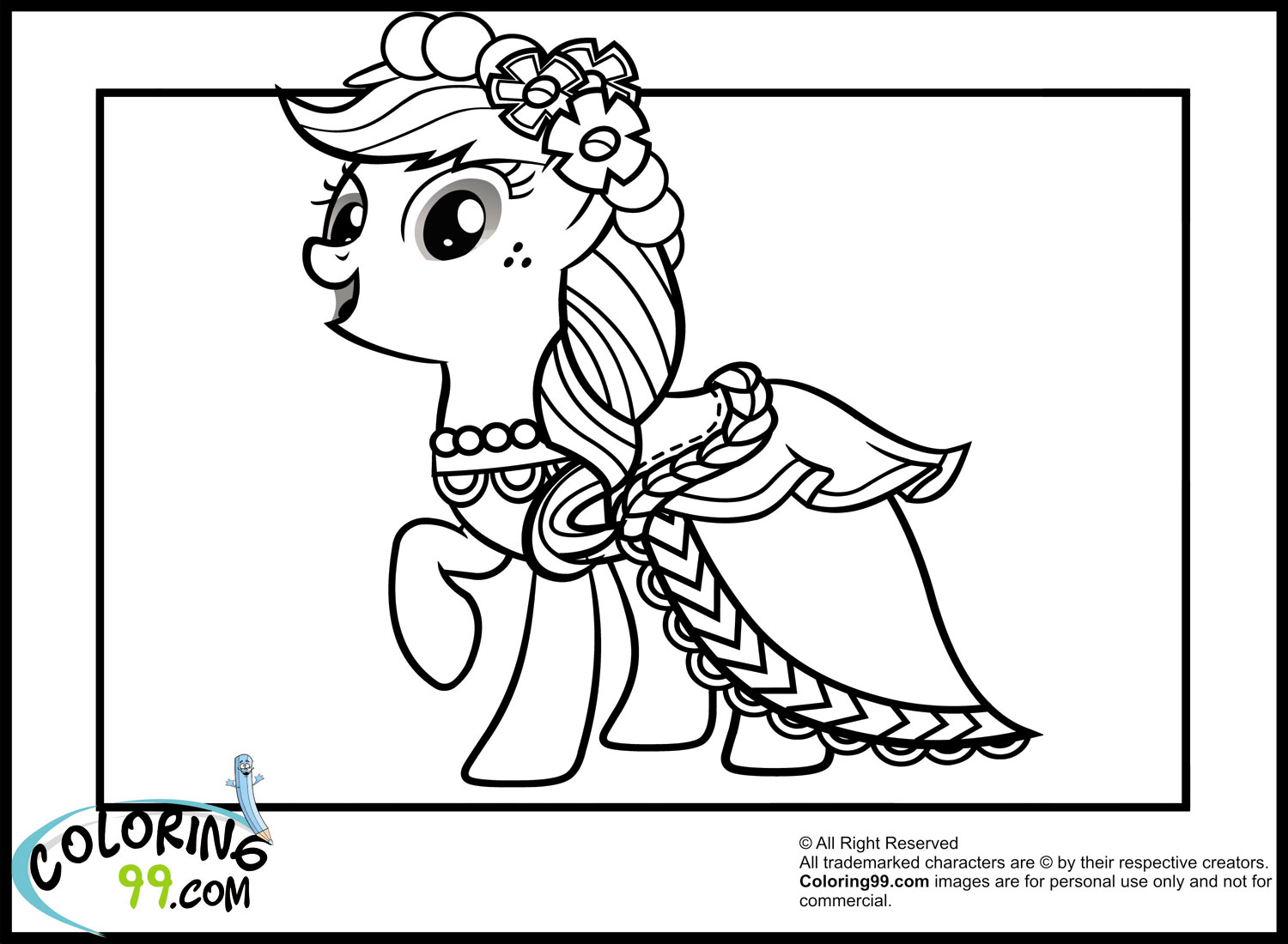 My Little Pony Royal Wedding Coloring Pages Applejack Coloring Page