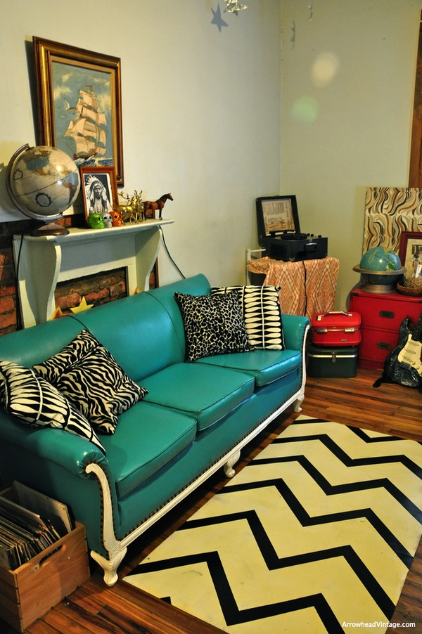 turquoise sofa vintage animal print DIY linoleum rug painted floor cloth chevron zigzag red room twin peaks