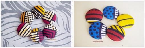Boutons en tissu wax africain gros bouton recouvert  - www.cocoflower.net