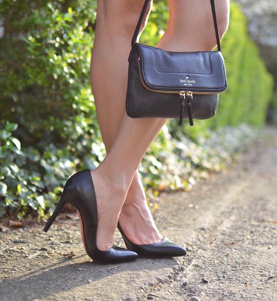 Wearing black pumps in Spring