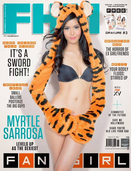 Cosplay girl Myrtle Sarrosa does an FHM cover this November