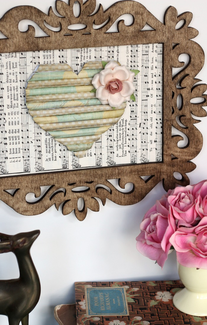 DIY Rolled Scrap Paper Heart Art--A Scrap Busting Project with a Vintage Look! pitterandglink.com