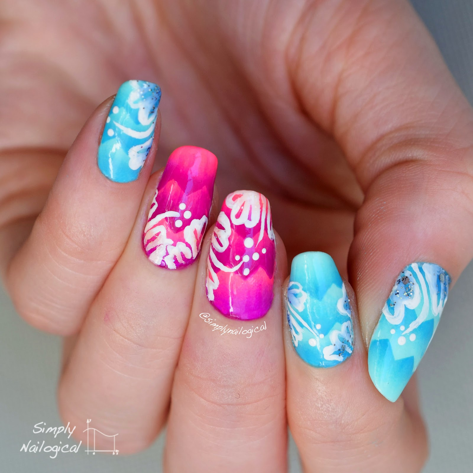 Hawaiian Themed Nails Over Scaled Grant