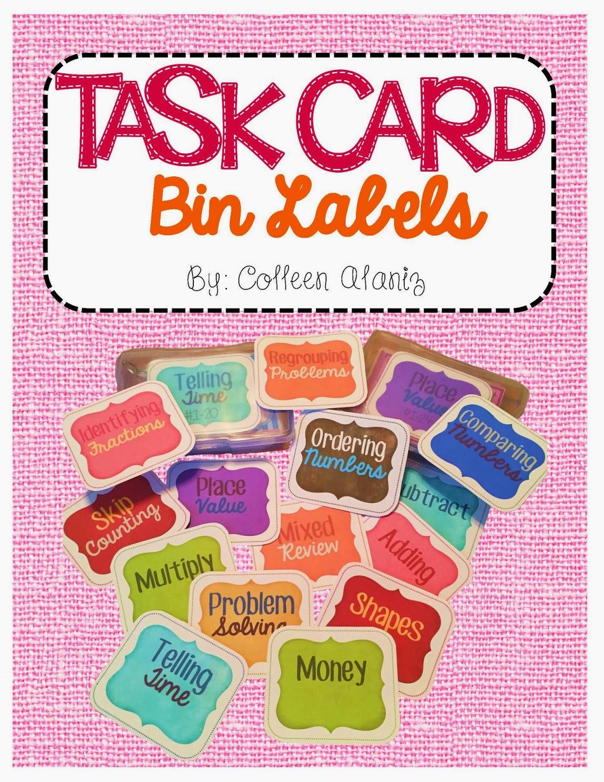 https://www.teacherspayteachers.com/Product/Math-Task-Card-Labels-1796346