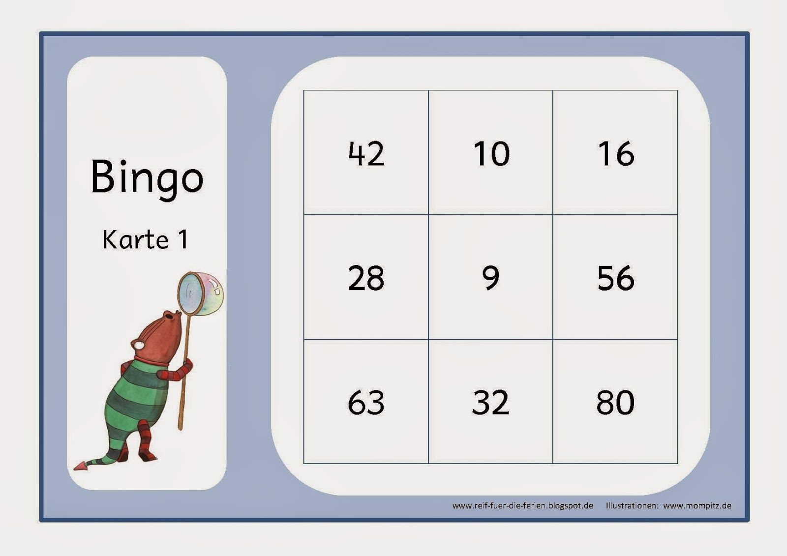Mompitz-Bingo zum 1x1