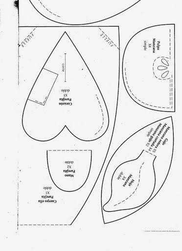 Maçã de tecido passo a passo e moldes