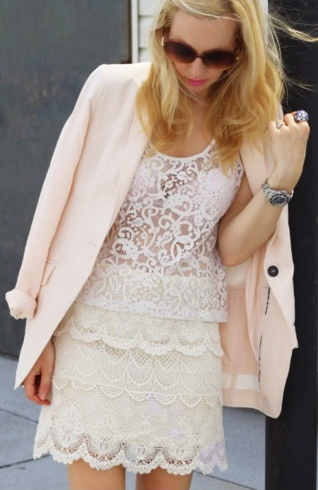 Wearing a White Lace Top and Skirt with Blush Pink Blazer for Romantic Spring Look