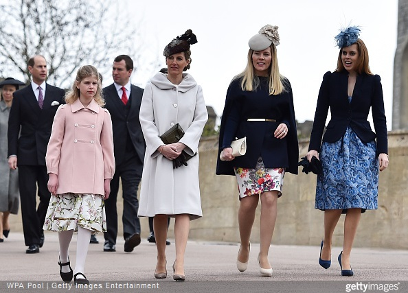 Lady Louise Windsor, Sophie, Countess of Wessex, Autumn Phillips and Princess Beatrice arrive to attend the Easter Sunday service at St George's Chapel at Windsor Castle
