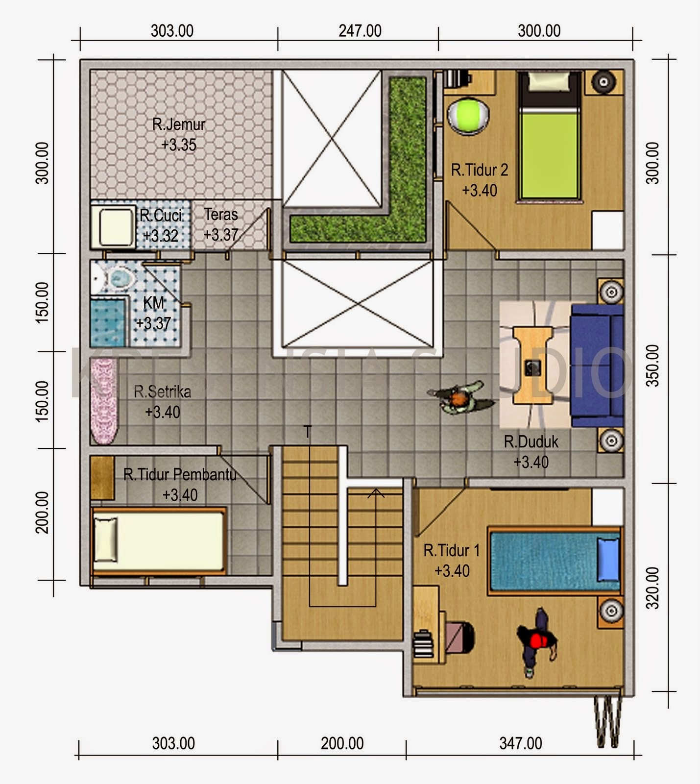 Plan minimalist 3 Bedrooms