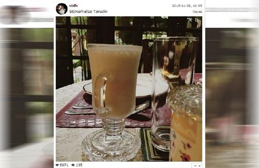 GAMBAR dengan mesej 'susu kambing + kurma …selamat pagi' yang dimuat naik di laman sosial Instagram milik Datuk Siti Nurhaliza.