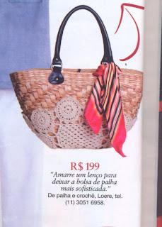 Bolsa de palha customizada com crochê