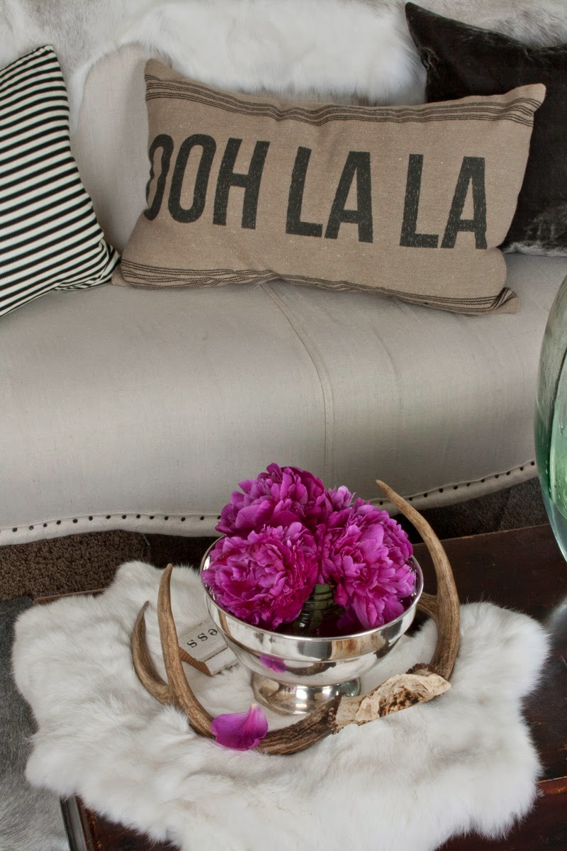 ooh la la, oh la la, pillow, pink peonies, dropcloth, antlers, silver plate bowl