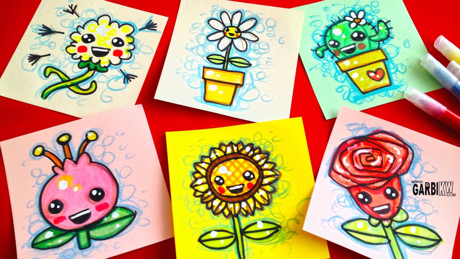 Tutorial Cmo dibujar Flores Bonitas  Dibujos sencillos y Kawaii