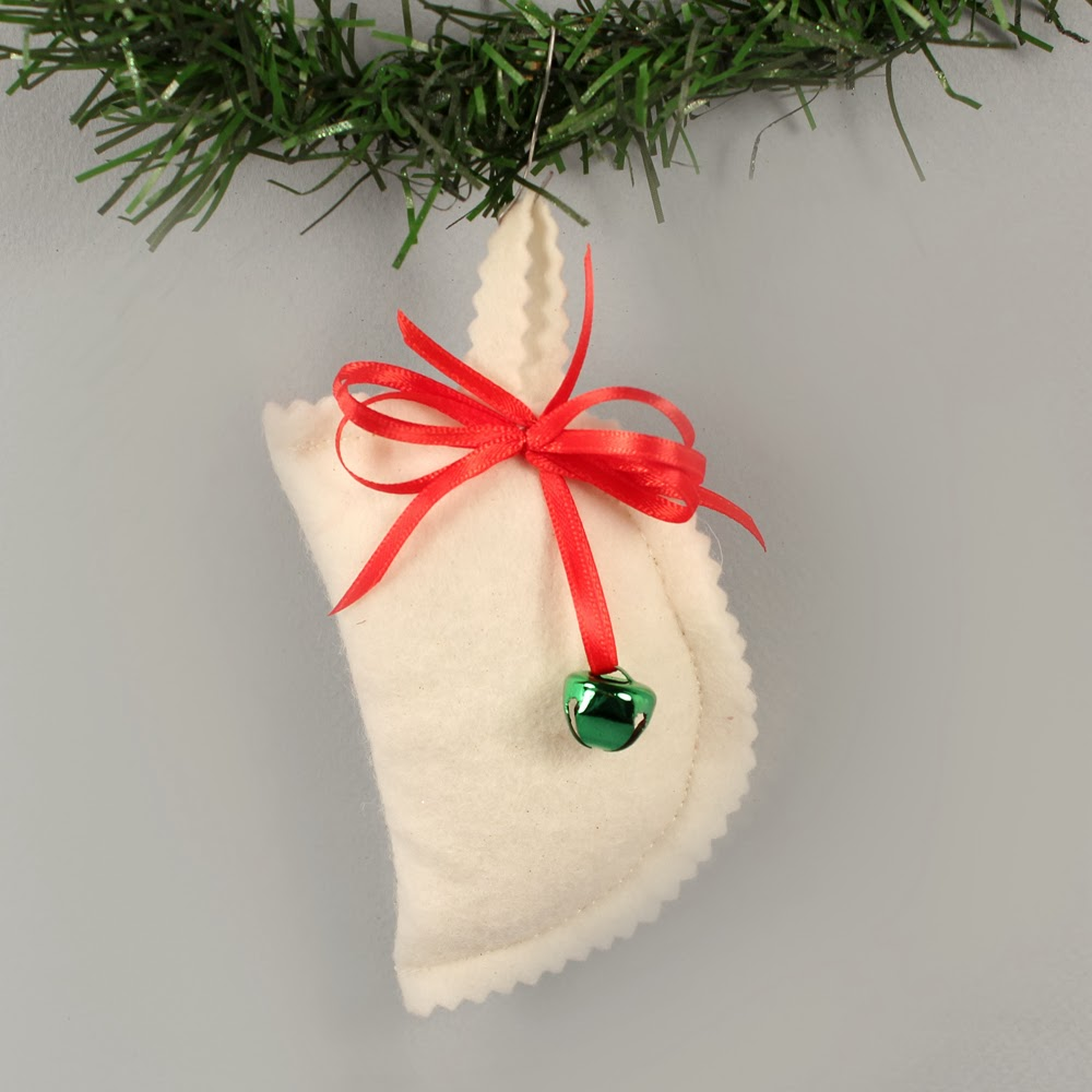 Pierogi christmas ornament - The Jingle Bell And Ribbon Bow Were Added In The Same Way As Above