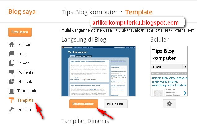 ubah footer blogspot