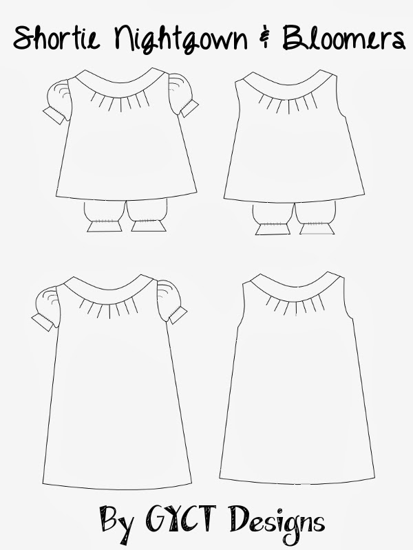 Shortie Nightgown and Bloomers Pattern by GYCT Designs
