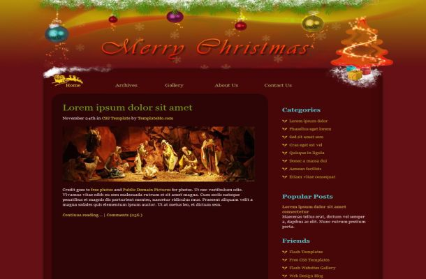 Free CSS Red Christmas HTML Website Template