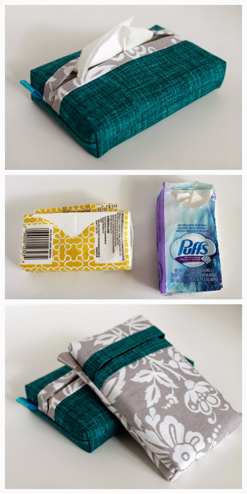 Pocket Tissue Pack Cover | Tutorial for sewing a self-binding Tissue Pack Cover with a vertical OR horizontal opening. | The Inspired Wren