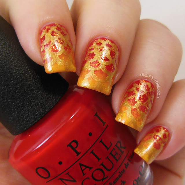 fire dragon nail art