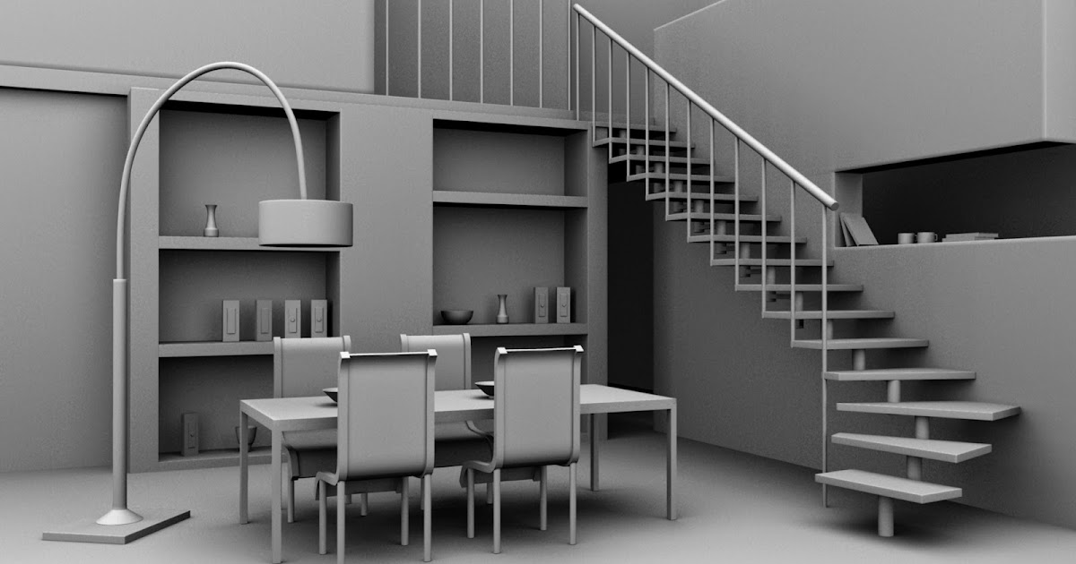 3d models in autodesk maya interior dining area for Autodesk online home design