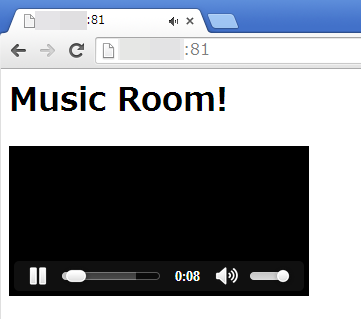 Windows 上の Chrome : ブラウザに表示された video タグのオブジェクト WiiU のゲームパッドで見た場合と、ほぼ同じ操作性で、音楽を聴くことが出来る