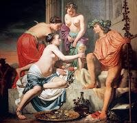 Este óleo, por Caesar van Boetius, representa a Nerón disfrazado como el dios Baco. 1670.