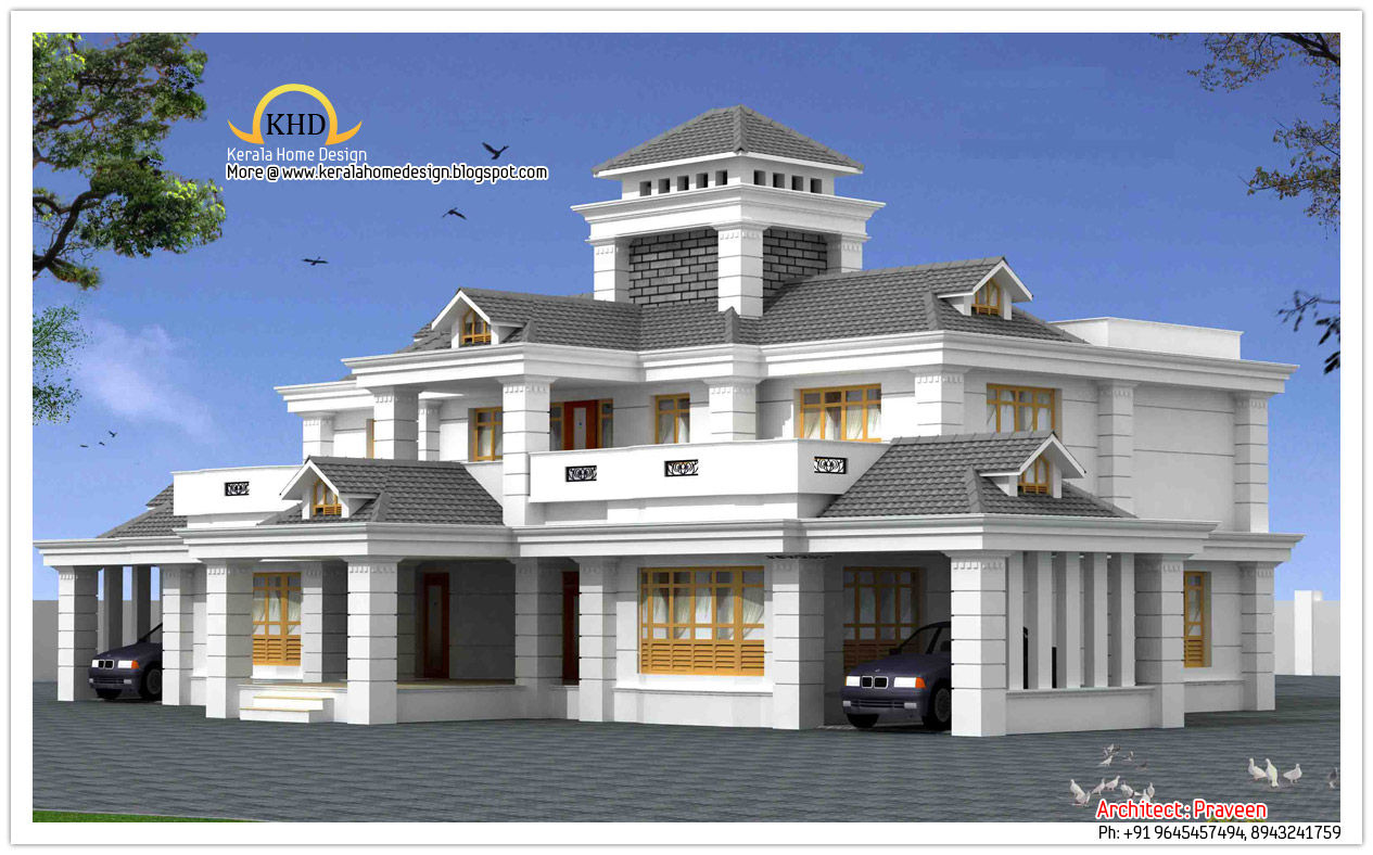 Luxury home design elevation 5050 sq ft kerala home for Luxary home plans