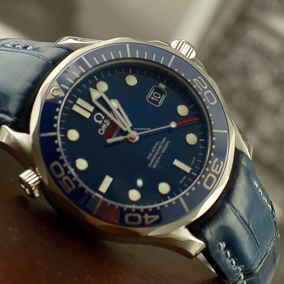 Vadim's Omega Seamaster 300m on custom Steel Blue dyed Alligator strap