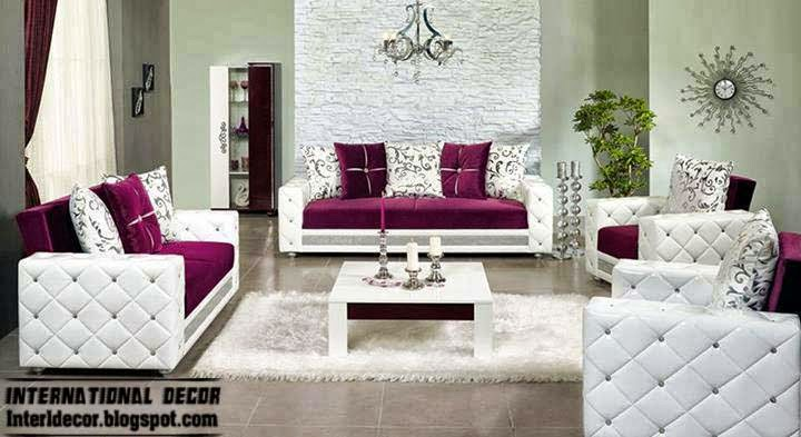 Luxury purple furniture sets sofas chairs for living Unique living room sets
